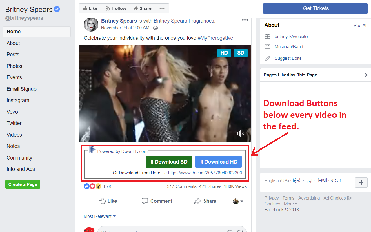 Download buttons in Facebook feeds